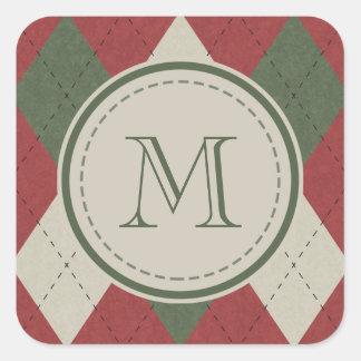 モノグラムが付いている緑及び赤くアーガイル柄のな格子縞パターン スクエアシール