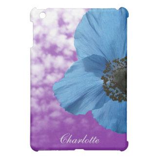 モノグラムが付いている自然の青ケシの花の紫色の空 iPad MINI カバー