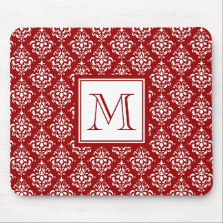 モノグラムが付いている赤いダマスク織パターン1 マウスパッド