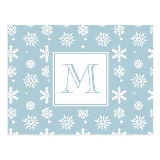 モノグラムが付いている青および白い雪片パターン1 ポストカード