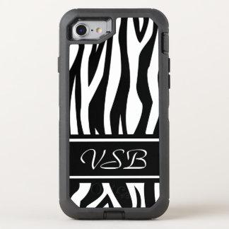 モノグラムが付いている黒いシマウマのプリント オッターボックスディフェンダーiPhone 8/7 ケース