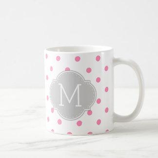モノグラムが付いているBubblegumのモダンなピンクの水玉模様 コーヒーマグカップ