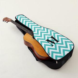 モノグラムが付いているTiffany青いシェブロン ギターケース