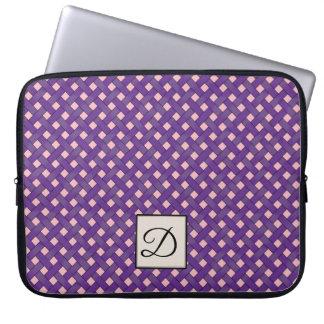 モノグラムとのカスタムなピンクの編まれた紫色の藤 ラップトップスリーブ
