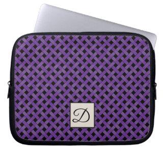 モノグラムとのカスタムな黒の編まれた紫色の藤 ラップトップスリーブ