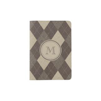 モノグラムとのモカChoccaブラウンのアーガイル パスポートカバー