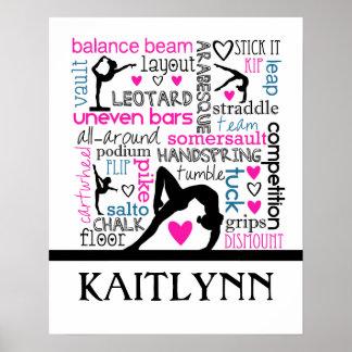 モノグラムとの体操の専門用語の単語 ポスター