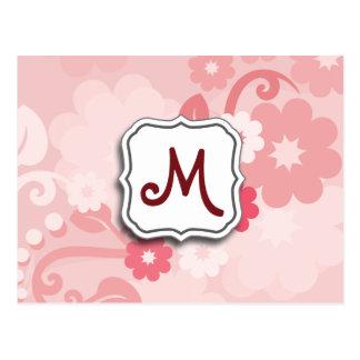 モノグラムとの抽象的な渦巻の花のピンク ポストカード