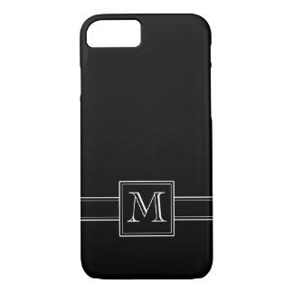 モノグラムとの無地のな黒 iPhone 7ケース