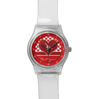 モノグラムとの豊富な赤のチェック模様の体操 腕時計