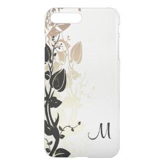 モノグラムとの金ゴールドそして黒い花柄 iPhone 8 PLUS/7 PLUS ケース