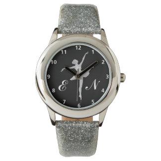 モノグラムとの黒の銀のバレリーナ 腕時計