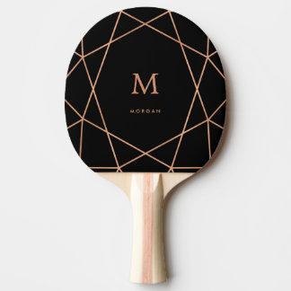 モノグラムと幾何学的なモダンなのどのばら色の金ゴールド 卓球ラケット