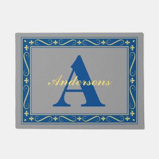 モノグラムによってカスタマイズ(紋章の)フラ・ダ・リのボーダー灰色 ドアマット