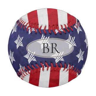 モノグラムのすべてのアメリカの赤白青米国の旗 野球ボール
