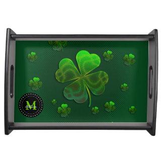 モノグラムのでかわいい緑の幸運なシャムロック トレー