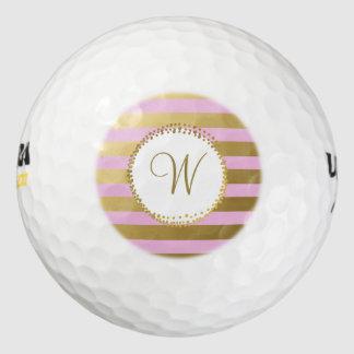 モノグラムのでシックなゴルフ・ボールのガーリーな赤面のピンクの金ゴールド ゴルフボール