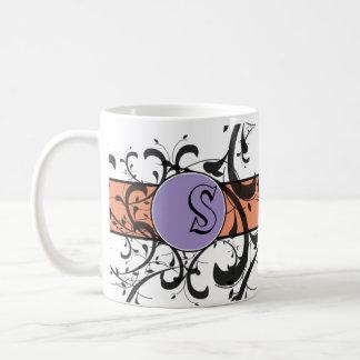 モノグラムので名前入りでビクトリアンな華麗さ コーヒーマグカップ