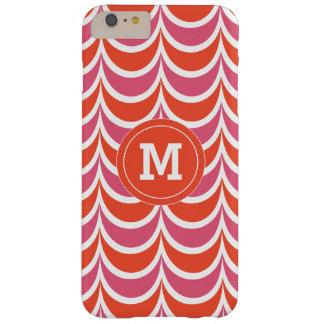モノグラムので幾何学的なパターンピンクおよび珊瑚 BARELY THERE iPhone 6 PLUS ケース