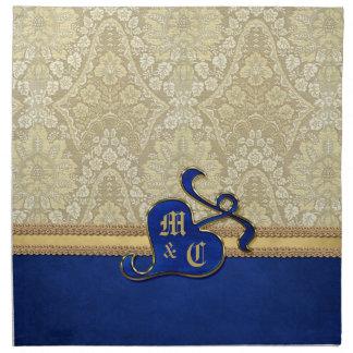 モノグラムので旧式なダマスク織の金ゴールドのロイヤルブルーのビロード ナプキンクロス