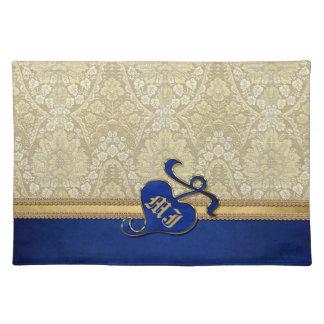 モノグラムので旧式なダマスク織の金ゴールドのロイヤルブルーのビロード ランチョンマット