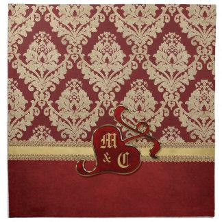 モノグラムので旧式なダマスク織の金ゴールドの赤のザクロ ナプキンクロス