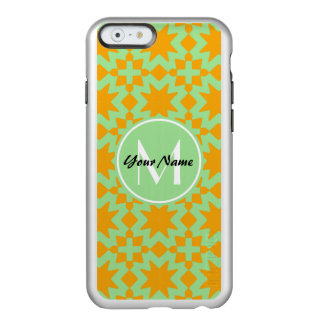 モノグラムので真新しい緑のオレンジスタイリッシュでシックなパターン INCIPIO FEATHER SHINE iPhone 6ケース