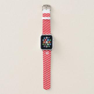 モノグラムので赤いキャンディ・ケーンのストライプのAppleの時計バンド Apple Watchバンド