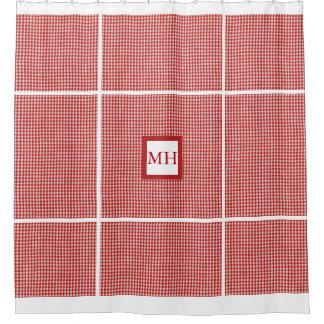 モノグラムので赤いギンガムのブロック シャワーカーテン