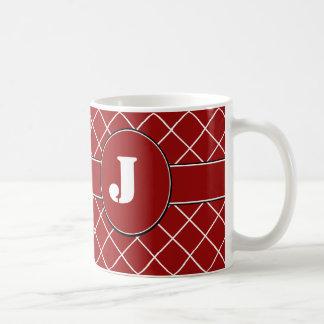 モノグラムので赤いダイヤモンド コーヒーマグカップ