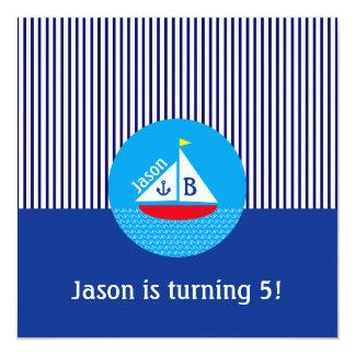 モノグラムので赤いヨットの海洋の航海ので青い海 カード