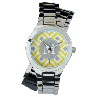 モノグラムので黄色い灰色のダイヤモンドのイカットパターン 腕時計