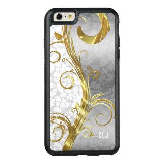 モノグラムのなほんの少しおよび銀製の花のダマスク織パターン オッターボックスiPhone 6/6S PLUSケース