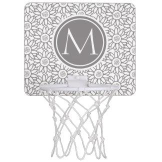 モノグラムのなエレガントなヒマワリパターン ミニバスケットボールゴール