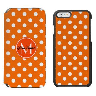 モノグラムのなオレンジおよび白い水玉模様パターン INCIPIO WATSON™ iPhone 6 財布ケース