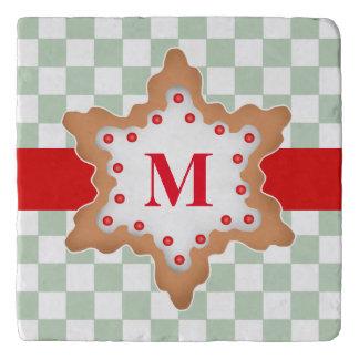 モノグラムのなクリスマスの星のクッキー トリベット