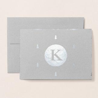 モノグラムのなクリスマスパターン銀 箔カード