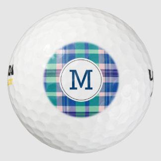 モノグラムのなゴルフ・ボールのプレッピーなピンクの青い格子縞 ゴルフボール