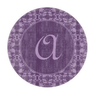 モノグラムのなシックな紫色およびラベンダー カッティングボード