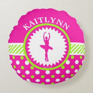 モノグラムのなダンサーのピンクおよび緑の水玉模様 ラウンドクッション