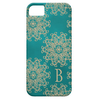 モノグラムのなティール(緑がかった色)および金ゴールドのインディアンパターン iPhone SE/5/5s ケース