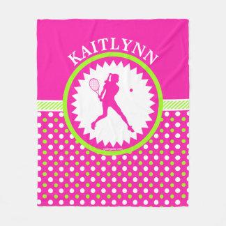 モノグラムのなテニスのピンク-緑の水玉模様 フリースブランケット