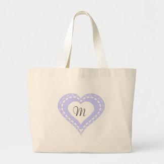 モノグラムのなハートの薄紫及び白い水玉模様パターン ラージトートバッグ