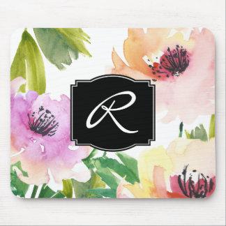 モノグラムのなパステル調の水彩画の花柄 マウスパッド