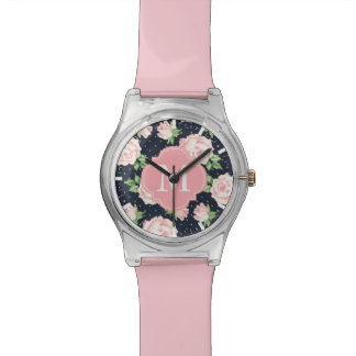 モノグラムのなピンクおよび青いヴィンテージのバラパターン 腕時計