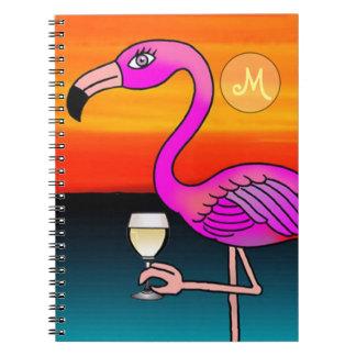 モノグラムのなピンクのワイン飲むフラミンゴ ノートブック