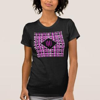 モノグラムのなピンクの格子縞 Tシャツ