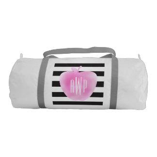 モノグラムのなピンクの水彩画Apple + 縞で飾ります ジムバッグ