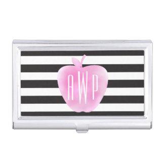 モノグラムのなピンクの水彩画Apple + 縞で飾ります 名刺入れ