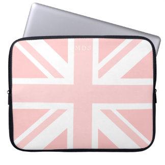 モノグラムのなピンクの英国国旗のイギリスの旗のラップトップスリーブ ラップトップスリーブ